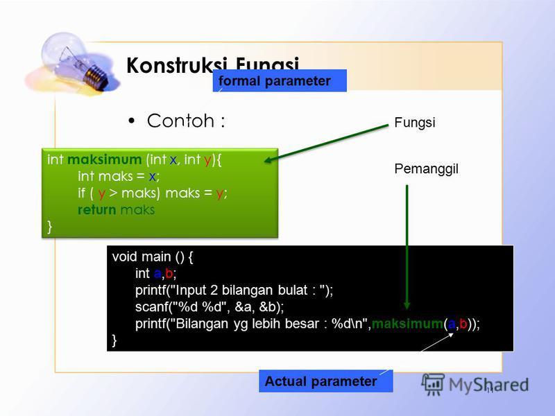 Konstruksi Fungsi Contoh : 11 int maksimum (int x, int y){ int maks = x; if ( y > maks) maks = y; return maks } int maksimum (int x, int y){ int maks = x; if ( y > maks) maks = y; return maks } void main () { int a,b; printf(