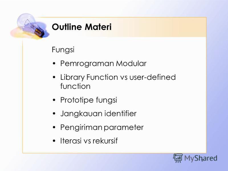 Outline Materi Fungsi Pemrograman Modular Library Function vs user-defined function Prototipe fungsi Jangkauan identifier Pengiriman parameter Iterasi vs rekursif 3