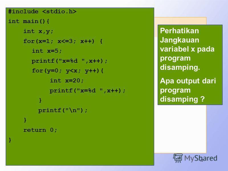 Latihan #include int main(){ int x,y; for(x=1; x<=3; x++) { int x=5; printf(