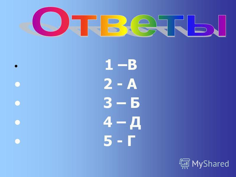1 –В 2 - А 3 – Б 4 – Д 5 - Г
