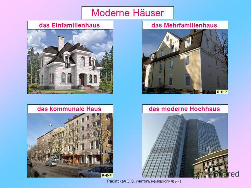 Moderne Häuser das Einfamilienhausdas Mehrfamilienhausdas kommunale Hausdas moderne Hochhaus Ракитская О.О. учитель немецкого языка