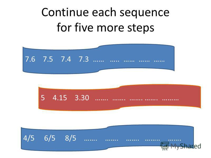 Continue each sequence for five more steps 7.6 7.5 7.4 7.3 …… ….. …… …… …… 54.15 3.30 ……. ……. ……. ……. ……… 4/5 6/5 8/5 ……. ……. ……. …….. …….