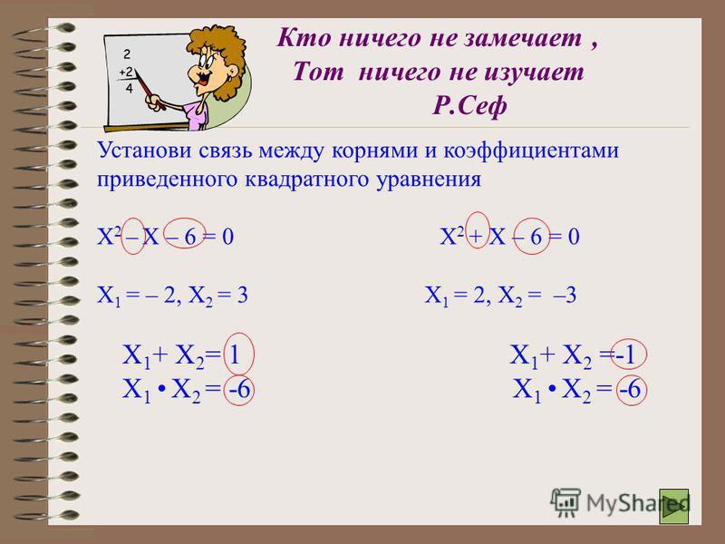 Проверка домашнего задания уравнения корни Произведение корней Сумма корней Х 2 -2Х -15 = 0 Х 2 +3Х -28= 0 Х 2 -14Х +48 = 0 Х 2 – Х –56 = 0 2. Открытие новых знаний. 1. Сравните произведение и сумму корней с коэффициентами уравнений. 2. Какая существ
