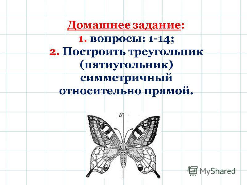 Домашнее задание: 1. вопросы: 1-14; 2. Построить треугольник (пятиугольник) симметричный относительно прямой.