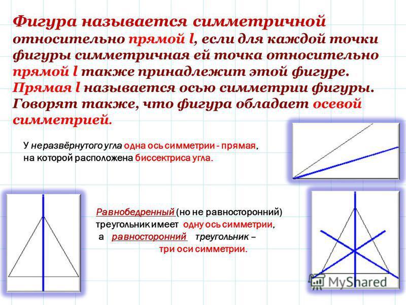 Фигура называется симметричной относительно прямой l, если для каждой точки фигуры симметричная ей точка относительно прямой l также принадлежит этой фигуре. Прямая l называется осью симметрии фигуры. Говорят также, что фигура обладает осевой симметр