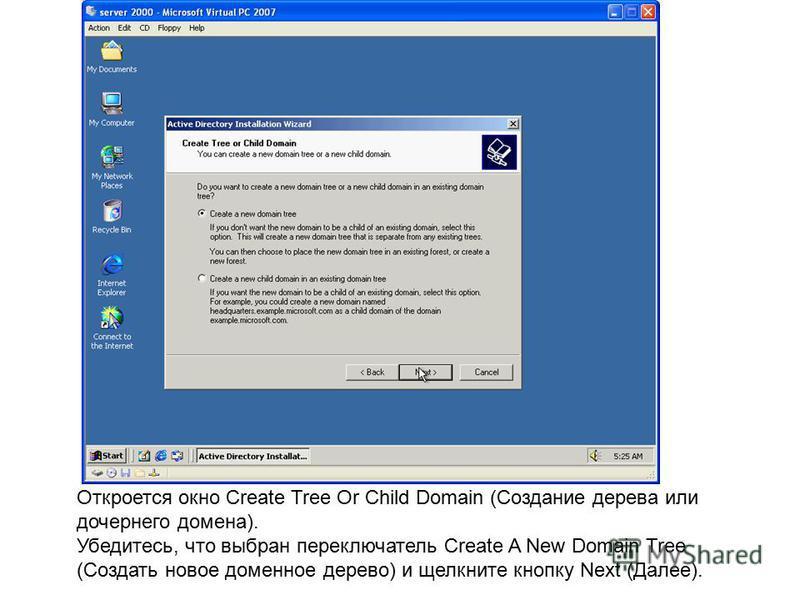 Откроется окно Create Tree Or Child Domain (Создание дерева или дочернего домена). Убедитесь, что выбран переключатель Create A New Domain Tree (Создать новое доменное дерево) и щелкните кнопку Next (Далее).