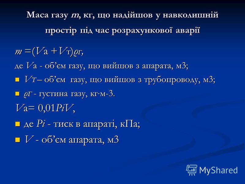 Маса газу m, кг, що надійшов у навколишній простір під час розрахункової аварії m =(Va +V т )ρ Г, де Va - обєм газу, що вийшов з апарата, м3; V Т – обєм газу, що вийшов з трубопроводу, м3; V Т – обєм газу, що вийшов з трубопроводу, м3; ρ Г - густина