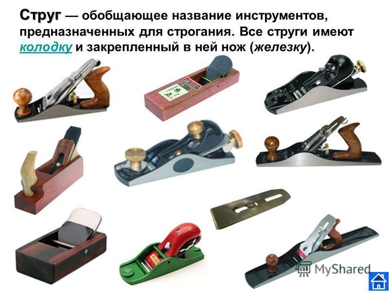 Струг Струг обобщающее название инструментов, предназначенных для строгания. Все струги имеют колодку и закрепленный в ней нож (железку). колодку