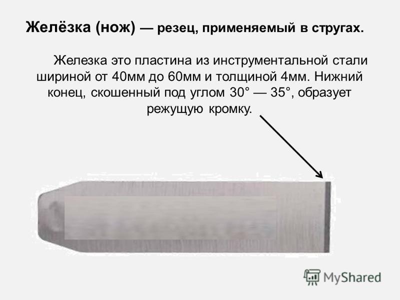 Желёзка (нож) резец, применяемый в стругах. Железка это пластина из инструментальной стали шириной от 40 мм до 60 мм и толщиной 4 мм. Нижний конец, скошенный под углом 30° 35°, образует режущую кромку.