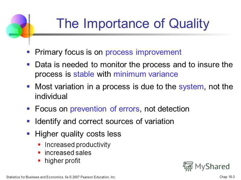 Statistics for Business and Economics, 6e © 2007 Pearson Education, Inc. Chap 18-3 The Importance of Quality Primary focus is on process improvement Data is needed to monitor the process and to insure the process is stable with minimum variance Most