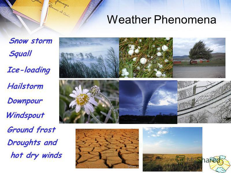 Weather Phenomena Snow storm Squall Ice-loading Hailstorm Downpour Windspout Ground frost Droughts and hot dry winds