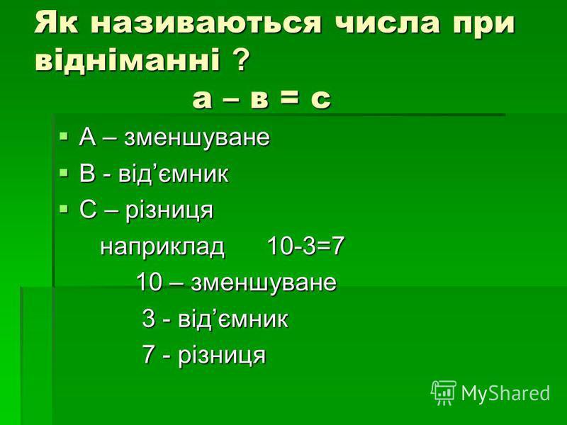 Як називаються числа при відніманні ? а – в = с А – зменшуване А – зменшуване В - відємник В - відємник С – різниця С – різниця наприклад 10-3=7 наприклад 10-3=7 10 – зменшуване 10 – зменшуване 3 - відємник 3 - відємник 7 - різниця 7 - різниця