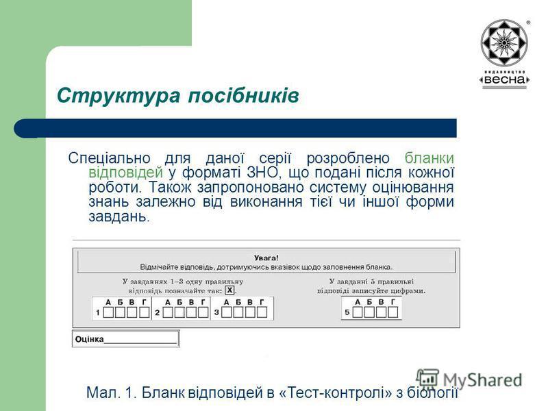 Структура посібників Спеціально для даної серії розроблено бланки відповідей у форматі ЗНО, що подані після кожної роботи. Також запропоновано систему оцінювання знань залежно від виконання тієї чи іншої форми завдань. Мал. 1. Бланк відповідей в «Тес