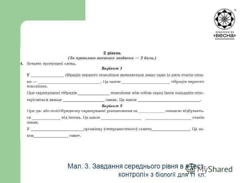 Мал. 3. Завдання середнього рівня в «Тест- контролі» з біології для 11 кл.
