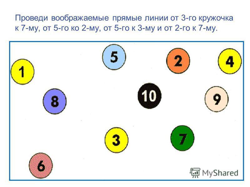 Проведи воображаемые прямые линии от 3-го кружочка к 7-му, от 5-го ко 2-му, от 5-го к 3-му и от 2-го к 7-му.