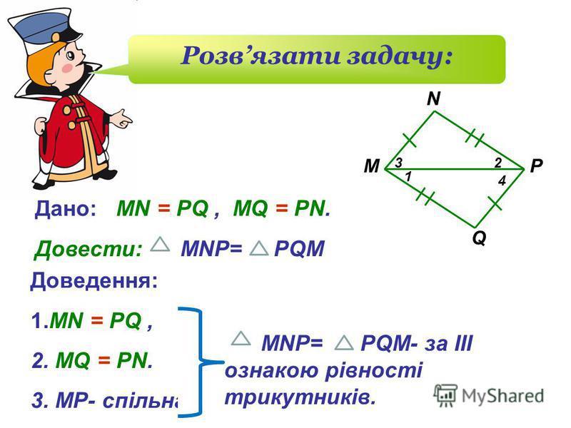 Q M N P 1 23 4 Дано: MN = PQ, MQ = PN. Довести: MNP= PQM Розвязати задачу: Доведення: 1.MN = PQ, 2. MQ = PN. 3. МР- спільна MNP= PQM- за III ознакою рівності трикутників.