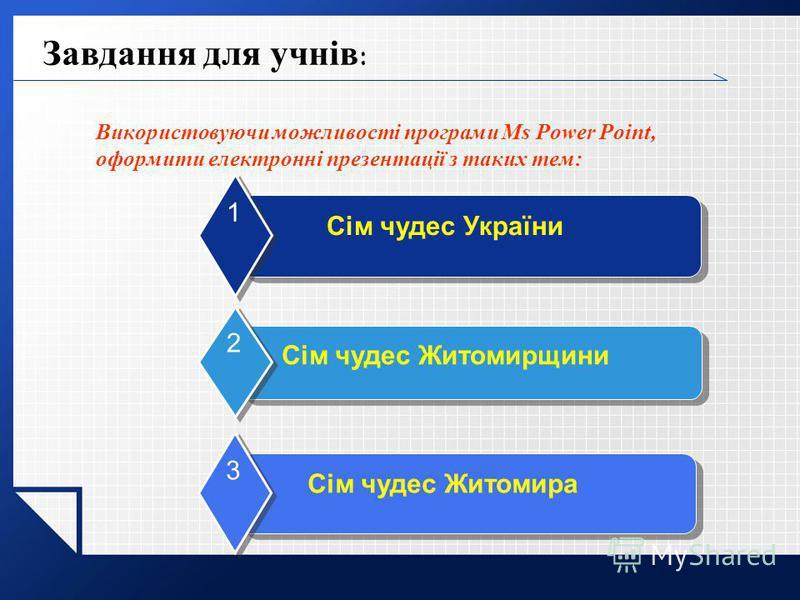 Завдання для учнів : Використовуючи можливості програми Ms Power Point, оформити електронні презентації з таких тем: Сім чудес України 1 Сім чудес Житомирщини 2 Сім чудес Житомира 3