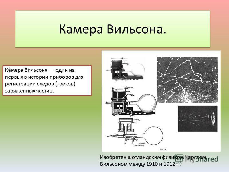 Камера Вильсона. Ка́мера Ви́льсона один из первых в истории приборов для регистрации следов (треков) заряженных частиц.