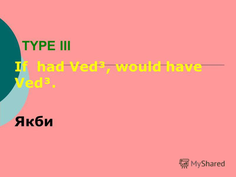 TYPE III If had Ved³, would have Ved³. Якби
