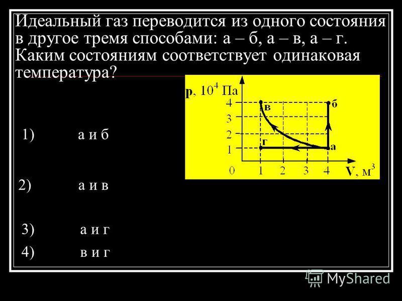Идеальный газ переводится из одного состояния в другое тремя способами: а – б, а – в, а – г. Каким состояниям соответствует одинаковая температура? 1)а и б 2)а и в 3)а и г 4)в и г