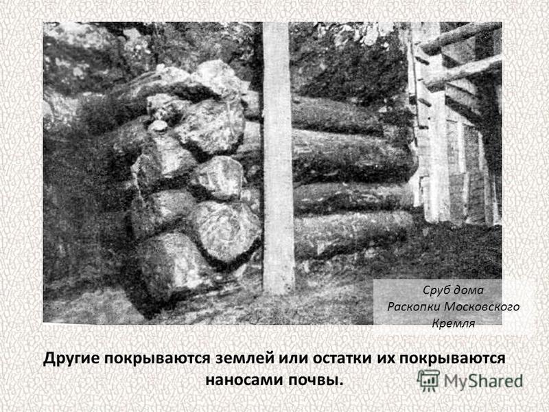 Другие покрываются землей или остатки их покрываются наносами почвы. Сруб дома Раскопки Московского Кремля
