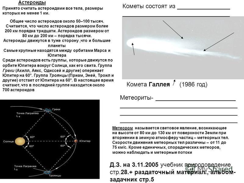 Принято считать астероидами все тела, размеры которых не менее 1 км. Общее число астероидов около 50–100 тысяч. Считается, что число астероидов размером более 200 км порядка тридцати. Астероидов размером от 80 км до 200 км – порядка тысячи. Астероиды