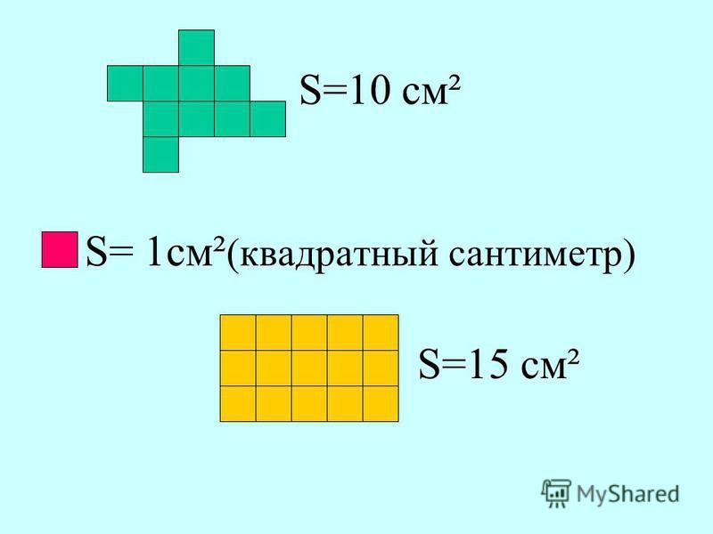 S= 1 см² (квадратный сантиметр) S=10 см² S=15 см²