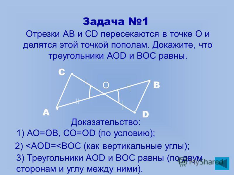 Задача 1 Отрезки АВ и СD пересекаются в точке О и делятся этой точкой пополам. Докажите, что треугольники АОD и ВОС равны. А В С D Доказательство: 1) АО=ОВ, СО=ОD (по условию); 2) <AOD=<BOC (как вертикальные углы); 3) Треугольники AOD и BOC равны (по