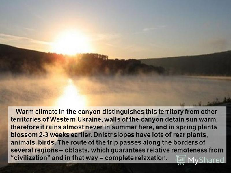 Warm climate in the canyon distinguishes this territory from other territories of Western Ukraine, walls of the canyon detain sun warm, therefore it rains almost never in summer here, and in spring plants blossom 2-3 weeks earlier. Dnistr slopes have