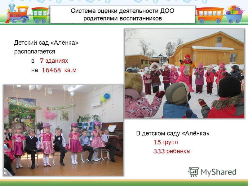 Система оценки деятельности ДОО родителями воспитанников Детский сад «Алёнка» располагается 7 в 7 зданиях 16468 на 16468 кв.м В детском саду «Алёнка» 15 15 групп 333 333 ребенка