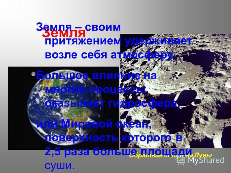 Земля Обратная сторона Луны Земля – своим притяжением удерживает возле себя атмосферу. Большое влияние на многие процессы оказывает гидросфера, или Мировой океан, поверхность которого в 2,5 раза больше площади суши.