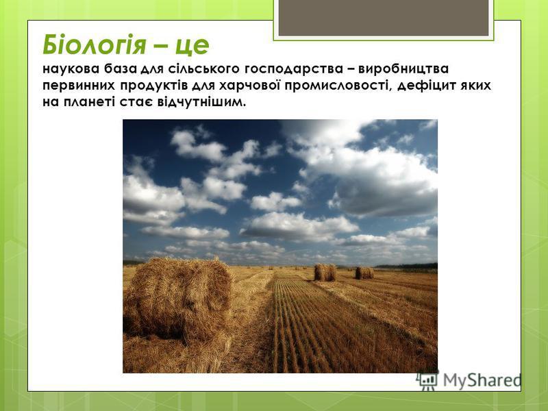 Біологія – це наукова база для сільського господарства – виробництва первинних продуктів для харчової промисловості, дефіцит яких на планеті стає відчутнішим.