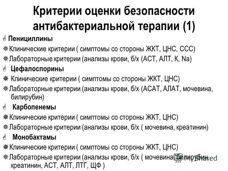 Критерии оценки безопасности антибактериальной терапии (1) Пенициллины Клинические критерии ( симптомы со стороны ЖКТ, ЦНС, ССС) Лабораторные критерии (анализы крови, б/х (АСТ, АЛТ, К, Na) Цефалоспорины Клинические критерии ( симптомы со стороны ЖКТ,
