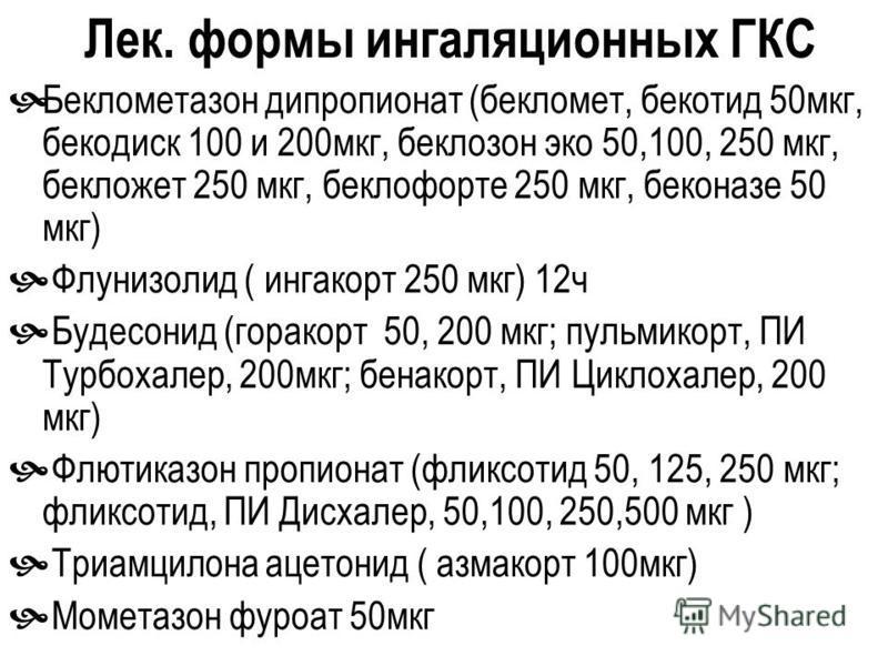 Лек. формы ингаляционных ГКС Беклометазон дипропионат (бекломет, бекотид 50 мкг, бекодиск 100 и 200 мкг, беклозон эко 50,100, 250 мкг, бекложет 250 мкг, беклофорте 250 мкг, беконазе 50 мкг) Флунизолид ( ингакорт 250 мкг) 12 ч Будесонид (гора корт 50,
