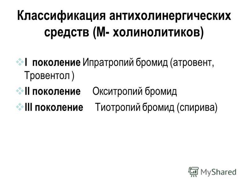 Классификация антихолинергических средств (М- холинолитиков) I поколение Ипратропий бромид (атровент, Тровентол ) II поколение Окситропий бромид III поколение Тиотропий бромид (спирива)