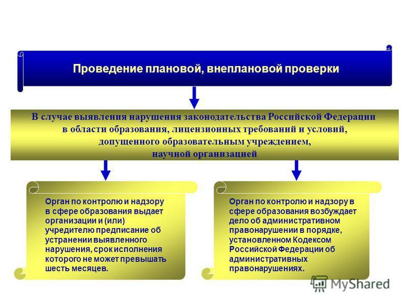 Проведение плановой, внеплановой проверки В случае выявления нарушения законодательства Российской Федерации в области образования, лицензионных требований и условий, допущенного образовательным учреждением, научной организацией Орган по контролю и н