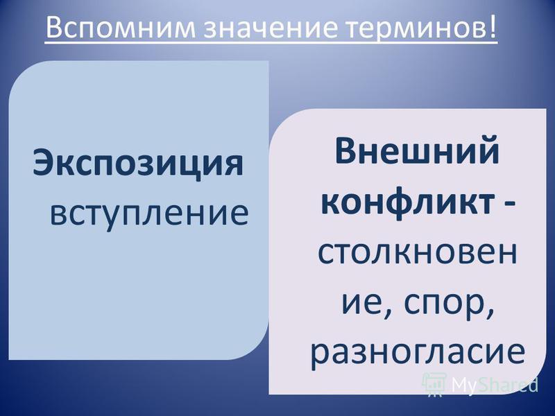 Вспомним значение терминов! Экспозиция вступление Внешний конфликт - столкновение, спор, разногласие
