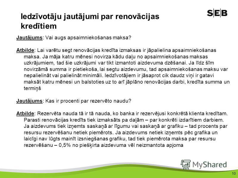 10 Iedzīvotāju jautājumi par renovācijas kredītiem Jautājums: Vai augs apsaimniekošanas maksa? Atbilde: Lai varētu segt renovācijas kredīta izmaksas ir jāpalielina apsaimniekošanas maksa. Ja māja katru mēnesi novirza kādu daļu no apsaimniekošanas mak