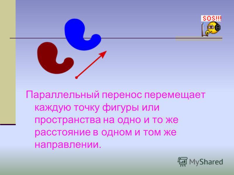 Параллельный перенос перемещает каждую точку фигуры или пространства на одно и то же расстояние в одном и том же направлении.