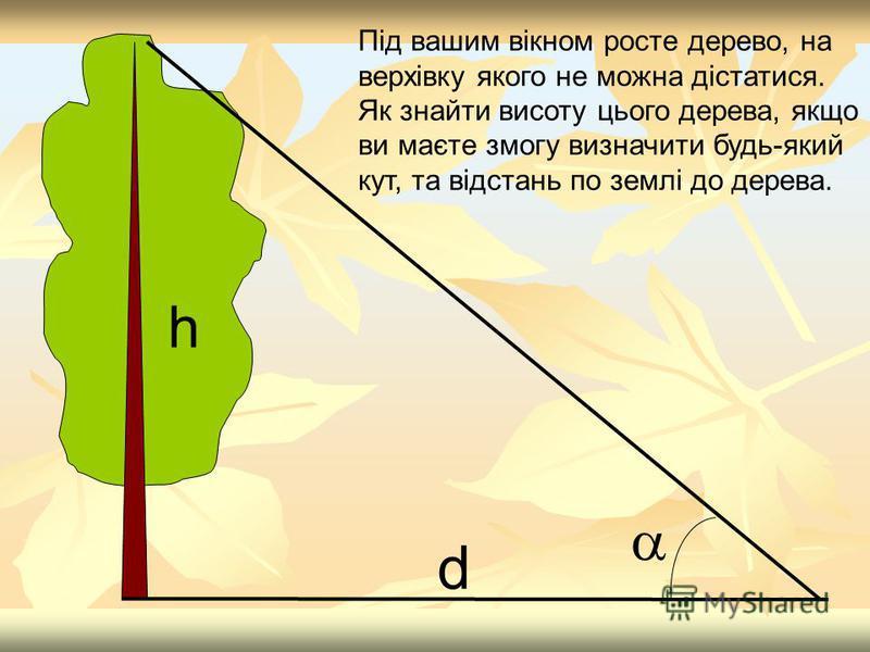 d h Під вашим вікном росте дерево, на верхівку якого не можна дістатися. Як знайти висоту цього дерева, якщо ви маєте змогу визначити будь-який кут, та відстань по землі до дерева.