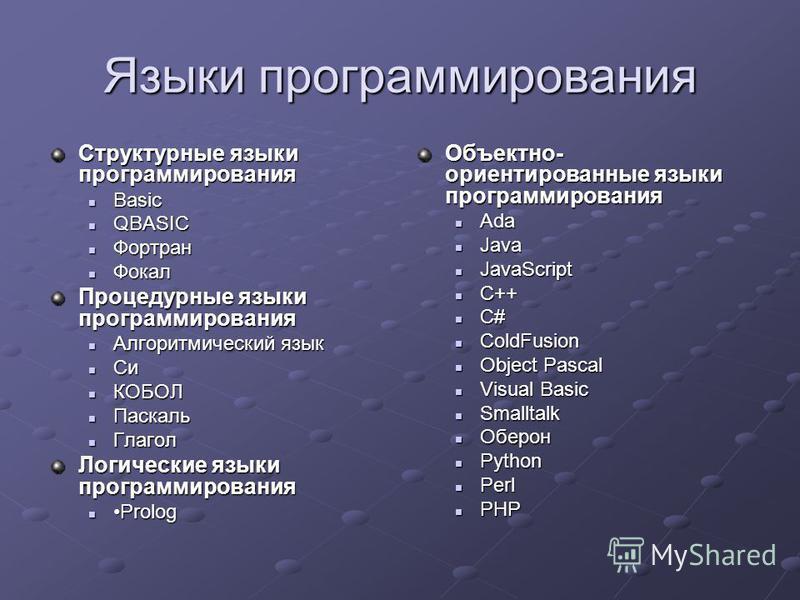 Языки программирования Структурные языки программирования Basic Basic QBASIC QBASIC Фортран Фортран Фокал Фокал Процедурные языки программирования Алгоритмический язык Алгоритмический язык Си Си КОБОЛ КОБОЛ Паскаль Паскаль Глагол Глагол Логические яз