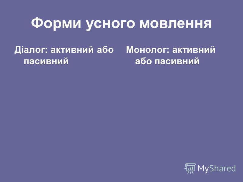 Форми усного мовлення Діалог: активний або пасивний Монолог: активний або пасивний