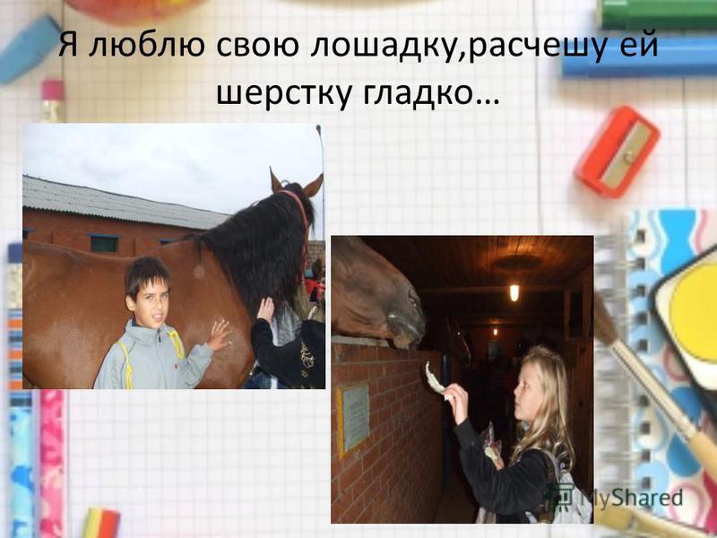 Я люблю свою лошадку,расчешу ей шерстку гладко…