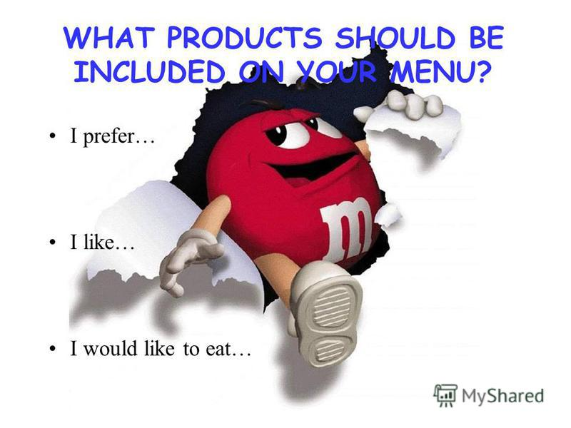 WHAT PRODUCTS SHOULD BE INCLUDED ON YOUR MENU? I prefer… I like… I would like to eat…