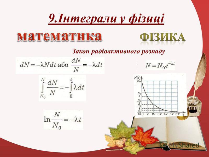 9.Інтеграли у фізиці Закон радіоактивного розпаду