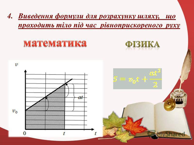4.Виведення формули для розрахунку шляху, що проходить тіло під час рівноприскореного руху
