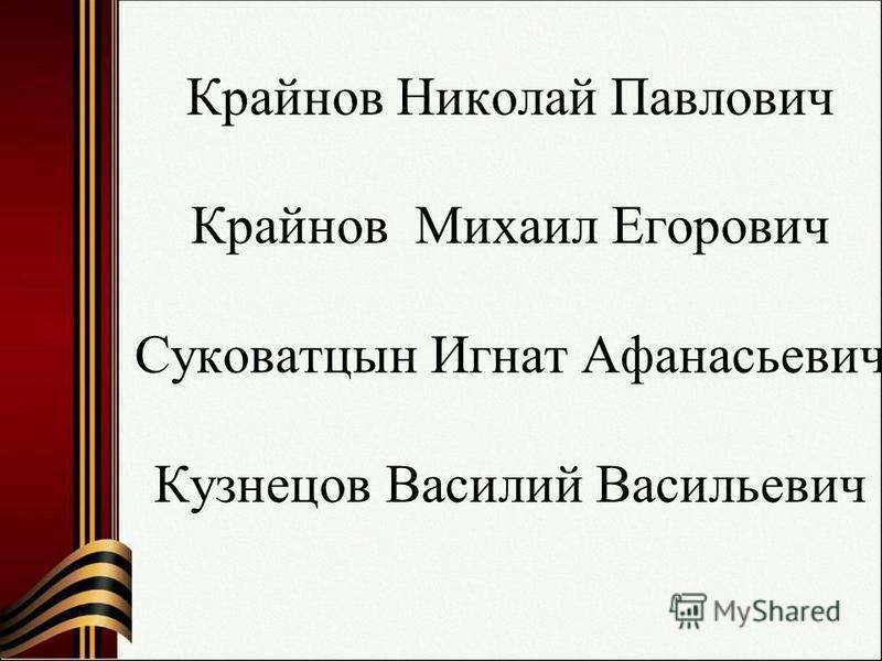 Крайнов Николай Павлович Крайнов Михаил Егорович Суковатцын Игнат Афанасьевич Кузнецов Василий Васильевич