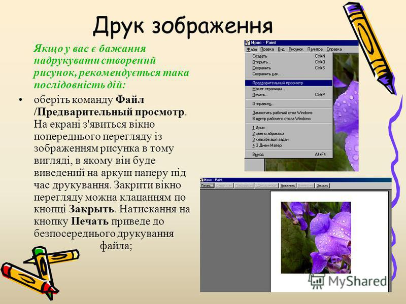 Друк зображення Якщо у вас є бажання надрукувати створений рисунок, рекомендується така послідовність дій: оберіть команду Файл /Предварительный просмотр. На екрані з'явиться вікно попереднього перегляду із зображенням рисунка в тому вигляді, в якому