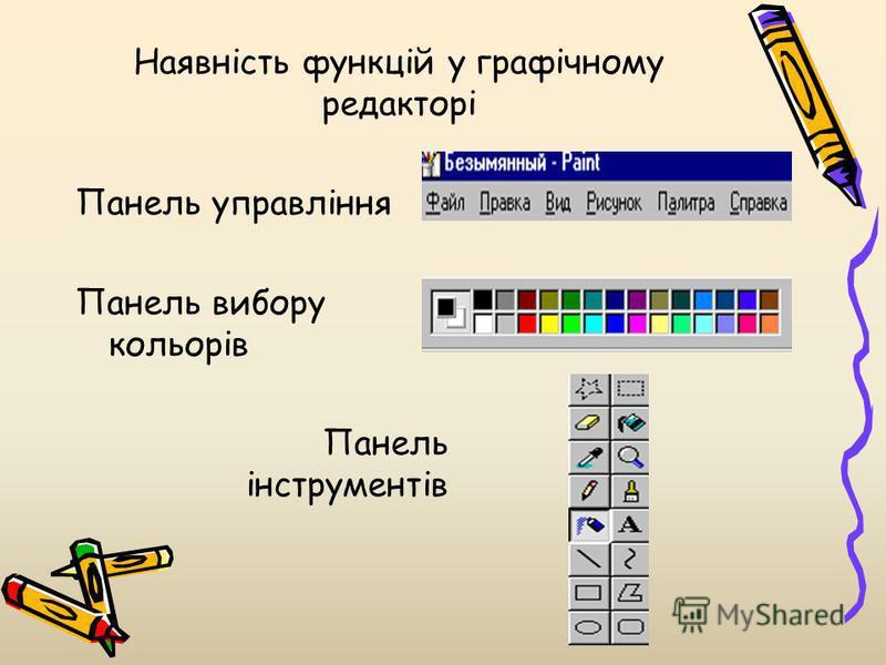Наявність функцій у графічному редакторі Панель управління Панель вибору кольорів Панель інструментів