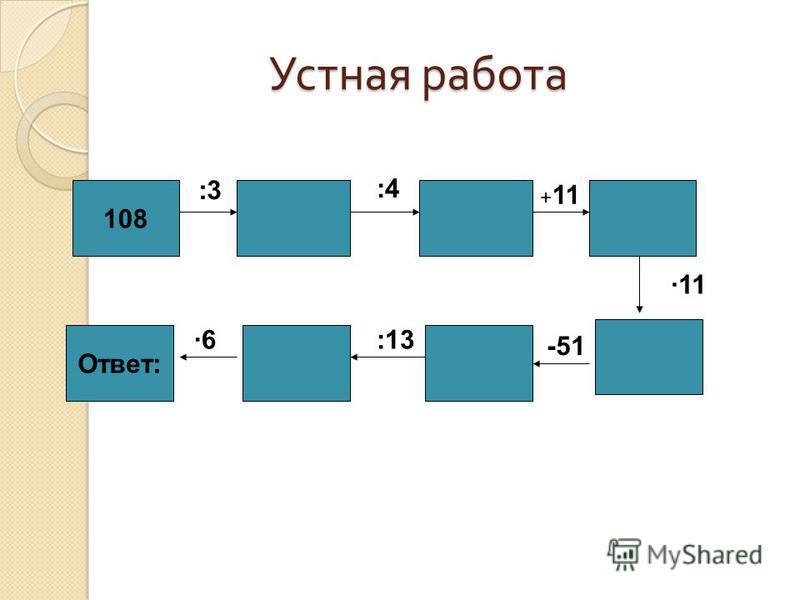Устная работа 108 Ответ: :3 :4 + 11 11 -51 :136